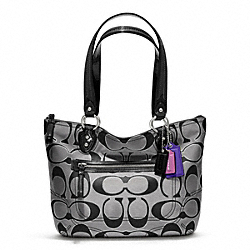 COACH F23473 Poppy Small Tote In Metallic Signature Sateen