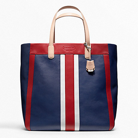 COACH F23479 WEEKEND BEACH LEATHER STRIPE LARGE NORTH/SOUTH TOTE SILVER/NAVY-MULTI
