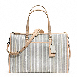 COACH F23490 Baby Bag Ticking Stripe Double Zip Tote SILVER/WHITE BLACK MULTI