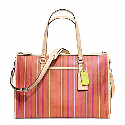 COACH F23490 Baby Bag Ticking Stripe Double Zip Tote SILVER/PINK LIGHT GOLDME