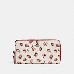 COACH F23498 Accordion Wallet With Fruit Print SILVER/CHALK MULTI