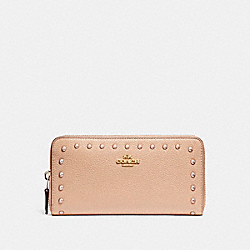 COACH F23505 Accordion Wallet With Lacquer Rivets IMITATION GOLD/NUDE PINK