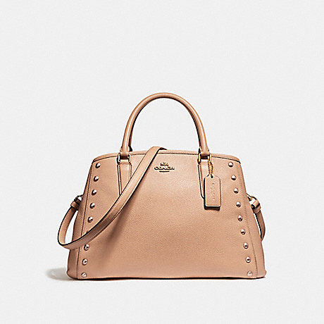 COACH f23509 SMALL MARGOT CARRYALL WITH LACQUER RIVETS IMITATION GOLD/NUDE PINK