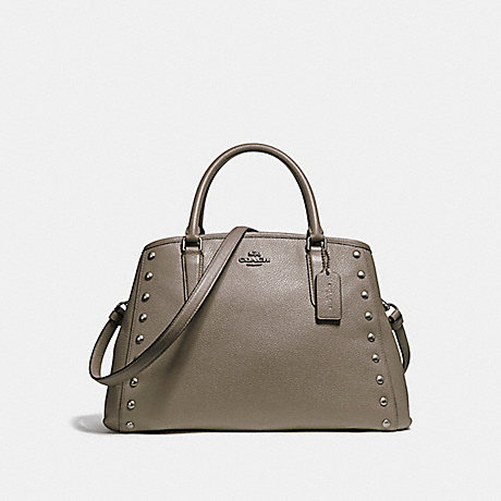 COACH f23509 SMALL MARGOT CARRYALL WITH LACQUER RIVETS SILVER/FOG