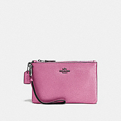 COACH F23513 Small Wristlet METALLIC BLUSH/DARK GUNMETAL