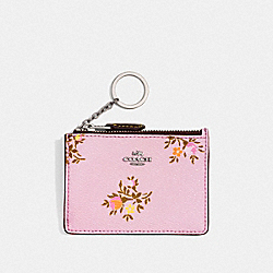 COACH F23518 Mini Skinny Id Case With Cross Stitch Floral Print SV/LILY CROSS STITCH FLORAL