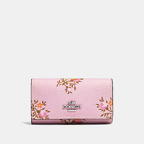 COACH F23519 SIX RING KEY CASE WITH CROSS STITCH FLORAL PRINT LILY CROSS STITCH FLORAL/SILVER