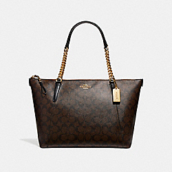 COACH F23526 Ava Chain Tote BROWN/BLACK/LIGHT GOLD
