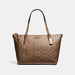 COACH F23526 - AVA CHAIN TOTE IN SIGNATURE CANVAS KHAKI/SADDLE 2/LIGHT GOLD