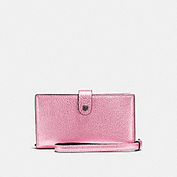 COACH F23527 Phone Wristlet METALLIC BLUSH/DARK GUNMETAL