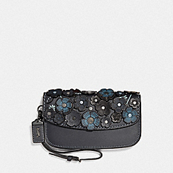 CLUTCH WITH SMALL TEA ROSE - F23536 - MIDNIGHT NAVY/BRASS