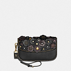 CLUTCH WITH SMALL TEA ROSE - F23536 - BLACK/OLD BRASS