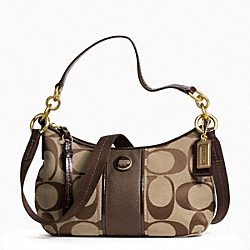 COACH F23544 - SIGNATURE STRIPE DEMI CROSSBODY BRASS/KHAKI/MAHOGANY