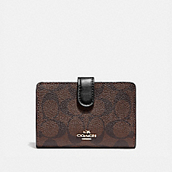 COACH F23553 - MEDIUM CORNER ZIP WALLET IN SIGNATURE CANVAS BROWN/BLACK/LIGHT GOLD
