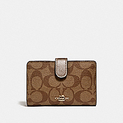 COACH F23553 Medium Corner Zip Wallet In Signature Coated Canvas LIGHT GOLD/KHAKI
