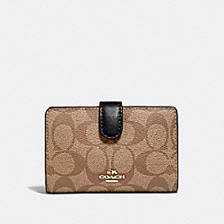 COACH F23553 - MEDIUM CORNER ZIP WALLET IN SIGNATURE CANVAS KHAKI/BLACK/IMITATION GOLD