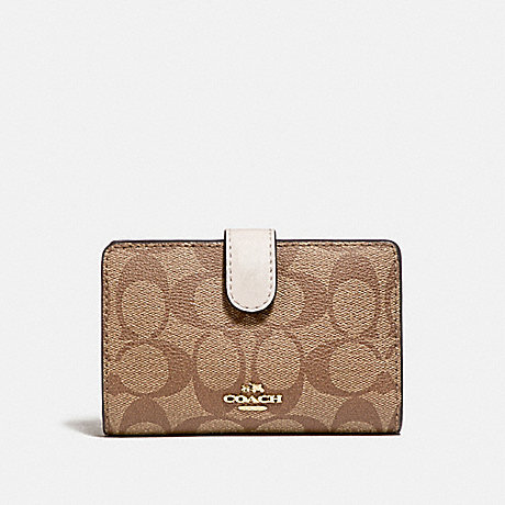 COACH F23553 MEDIUM CORNER ZIP WALLET IN SIGNATURE CANVAS KHAKI/CHALK/GOLD