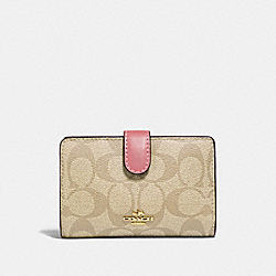 COACH F23553 - MEDIUM CORNER ZIP WALLET IN SIGNATURE CANVAS GOLD/LIGHT KHAKI/VINTAGE PINK
