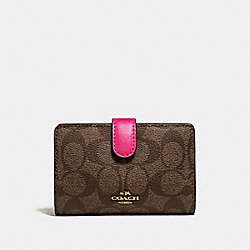 COACH F23553 Medium Corner Zip Wallet In Signature Canvas BROWN/NEON PINK/LIGHT GOLD