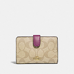 COACH F23553 Medium Corner Zip Wallet In Signature Canvas LIGHT KHAKI/PRIMROSE/IMITATION GOLD