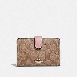 COACH F23553 Medium Corner Zip Wallet In Signature Canvas IM/KHAKI PINK PETAL
