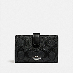 COACH F23553 - MEDIUM CORNER ZIP WALLET IN SIGNATURE CANVAS BLACK SMOKE/BLACK/SILVER