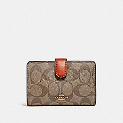 COACH F23553 Medium Corner Zip Wallet In Signature Canvas KHAKI/ORANGE RED/SILVER