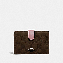 COACH F23553 - MEDIUM CORNER ZIP WALLET IN SIGNATURE CANVAS BROWN/DUSTY ROSE/SILVER