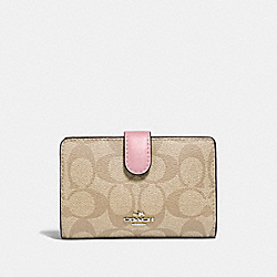 COACH F23553 Medium Corner Zip Wallet In Signature Canvas LIGHT KHAKI/CARNATION/SILVER