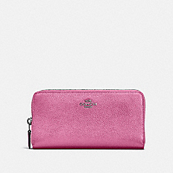 COACH F23554 Accordion Zip Wallet METALLIC BLUSH/DARK GUNMETAL