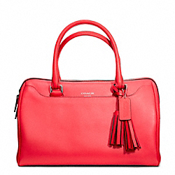 COACH F23574 - HALEY LEATHER SATCHEL SILVER/BRIGHT CORAL