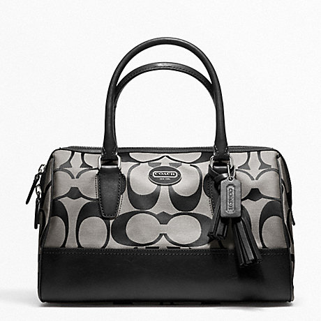 COACH f23575 SIGNATURE HALEY SATCHEL SILVER/BLACK/WHITE/BLACK