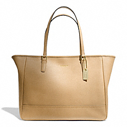 COACH F23576 Saffiano Medium City Tote BRASS/CAMEL
