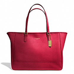 COACH F23576 Saffiano Leather Medium City Tote BRASS/SCARLET