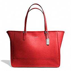 COACH F23576 Saffiano Medium City Tote SILVER/VERMILLION