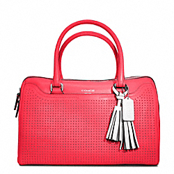 COACH F23577 Haley Perforated Leather Satchel SILVER/WATERMELON/SNOW