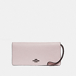 SLIM WALLET IN COLORBLOCK - F23590 - ICE PINK MULTI/BLACK COPPER