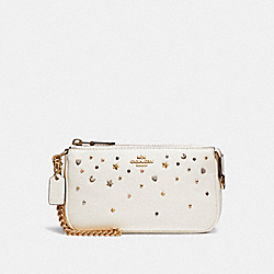 COACH F23595 Large Wristlet 19 With Stardust Studs LIGHT GOLD/CHALK