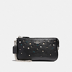 COACH F23595 Large Wristlet 19 With Stardust Studs SILVER/BLACK