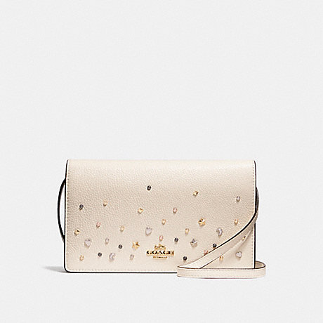 COACH f23596 FOLDOVER CROSSBODY CLUTCH WITH STARDUST STUDS LIGHT GOLD/CHALK