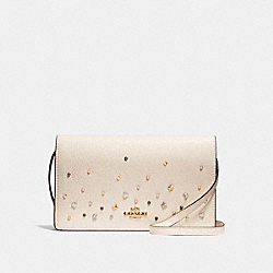 FOLDOVER CROSSBODY CLUTCH WITH STARDUST STUDS - f23596 - LIGHT GOLD/CHALK