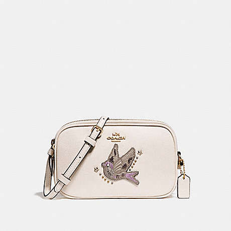 COACH f23607 CROSSBODY POUCH WITH BIRD APPLIQUE LIGHT GOLD/CHALK