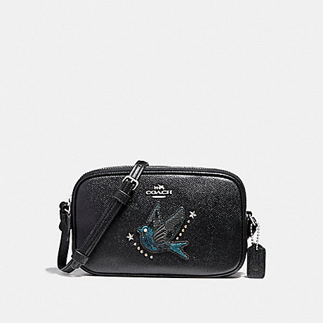 COACH f23607 CROSSBODY POUCH WITH BIRD APPLIQUE SILVER/BLACK