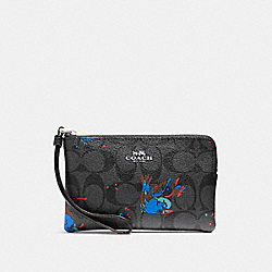 COACH F23608 Corner Zip Wristlet With Bird Print SILVER/BLACK SMOKE