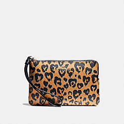COACH F23620 Corner Zip Wristlet With Wild Heart Print LIGHT GOLD/NATURAL MULTI