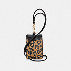 COACH F23626 Id Lanyard With Wild Heart Print LIGHT GOLD/NATURAL MULTI