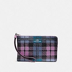 COACH F23632 Corner Zip Wristlet With Shadow Plaid Print SVMRU