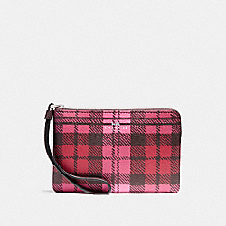 COACH F23632 Corner Zip Wristlet With Shadow Plaid Print SVMRV