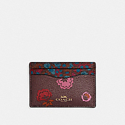 COACH F23633 Flat Card Case With Primrose Meadow Print IMFCG