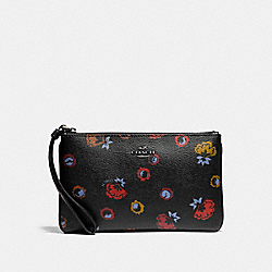 COACH F23640 Large Wristlet With Primrose Print ANTIQUE NICKEL/BLACK MULTI